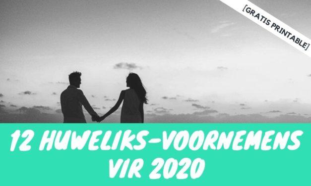 """[GRATIS Printable] Jou 2020 huweliks-voornemens """"checklist""""!"""