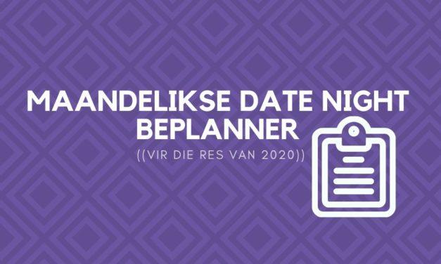 Maandelikse Date Night Beplanner vir die res van 2020
